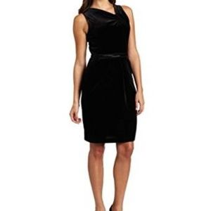 NWT Anne Klein Velvet Asymmetrical V-Neck Dress